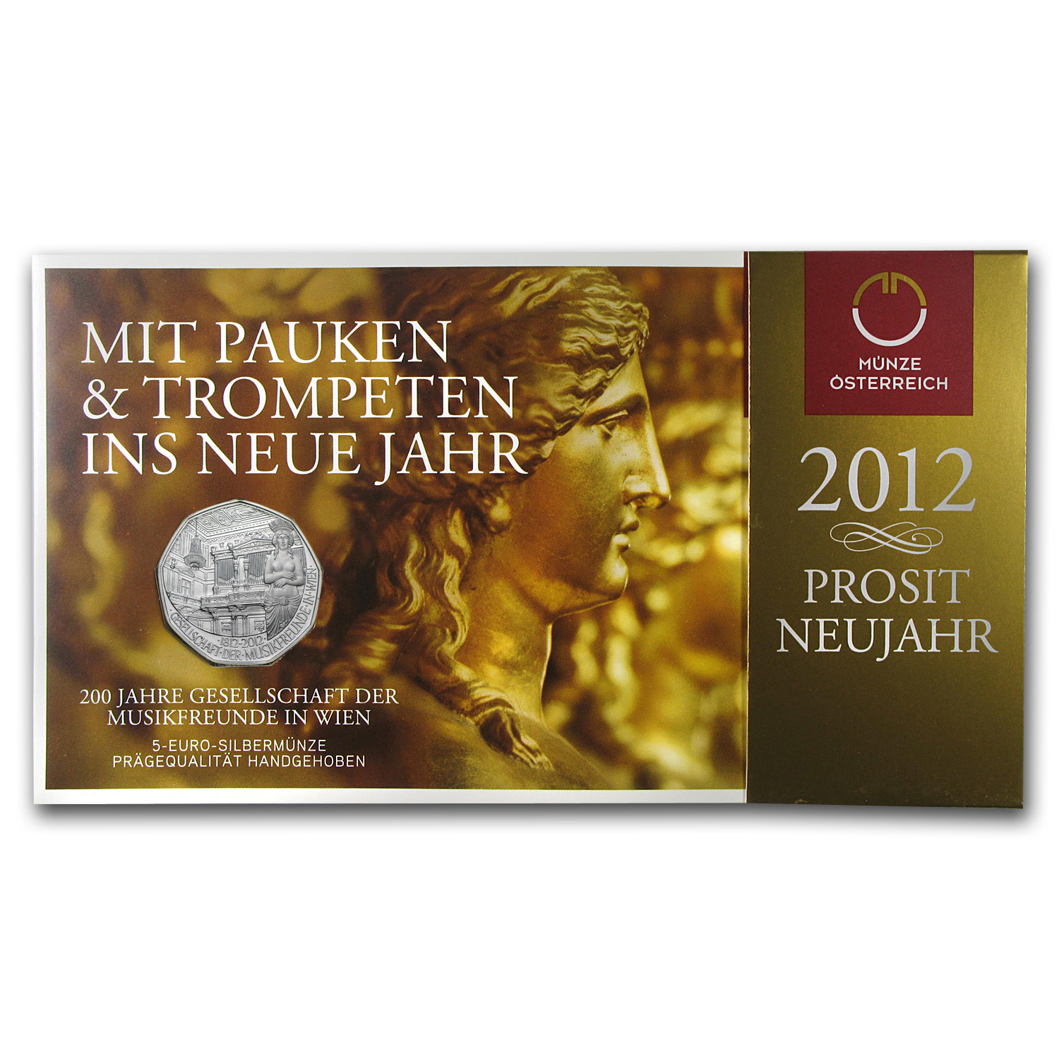 2011 Silver Austrian 5 Euro 200th Ann of Society of Music Lovers